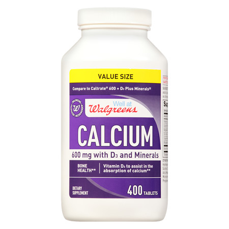 Well at Walgreens Calcium 600mg +D3 Plus Minerals, Easy to Swallow Tablets - 400 ea