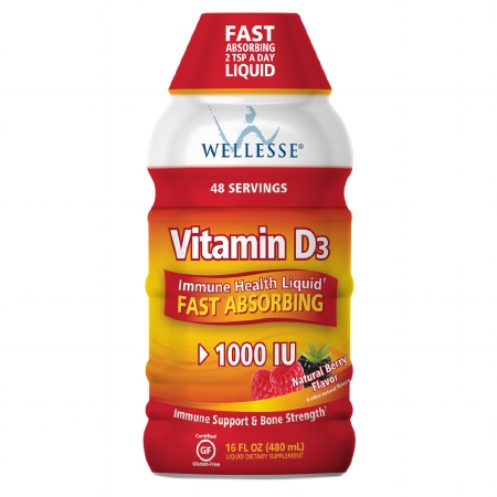 Wellesse Vitamin D3 1000 IU, Liquid Natural Berry - 16 fl oz