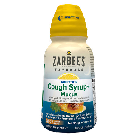 ZarBee's Naturals Cough Syrup + Mucus Nighttime With Dark HoneyNatural Herbs - 8 fl oz