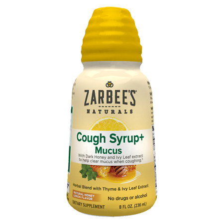 ZarBee's Naturals Cough Syrup + Mucus With Dark HoneyNatural Herbs Natural Honey Lemon Flavor - 8 fl oz