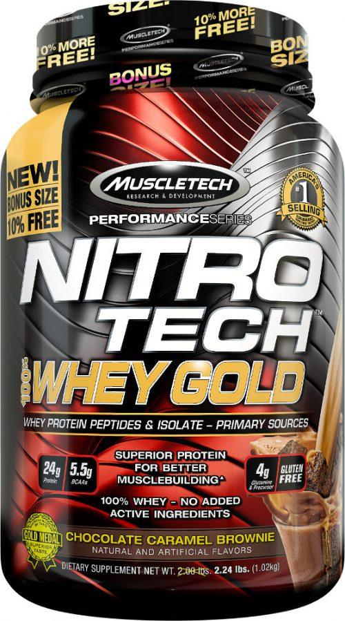MuscleTech Nitro-Tech 100% Whey Gold - 2.2lbs Chocolate Caramel Browni