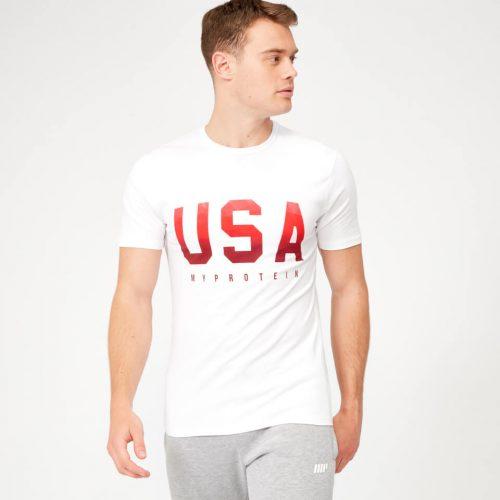 USA Geometric T-Shirt - White - L