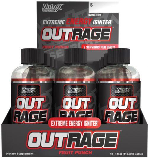 Nutrex Outrage Energy Shots - 1 Shot Fruit Punch