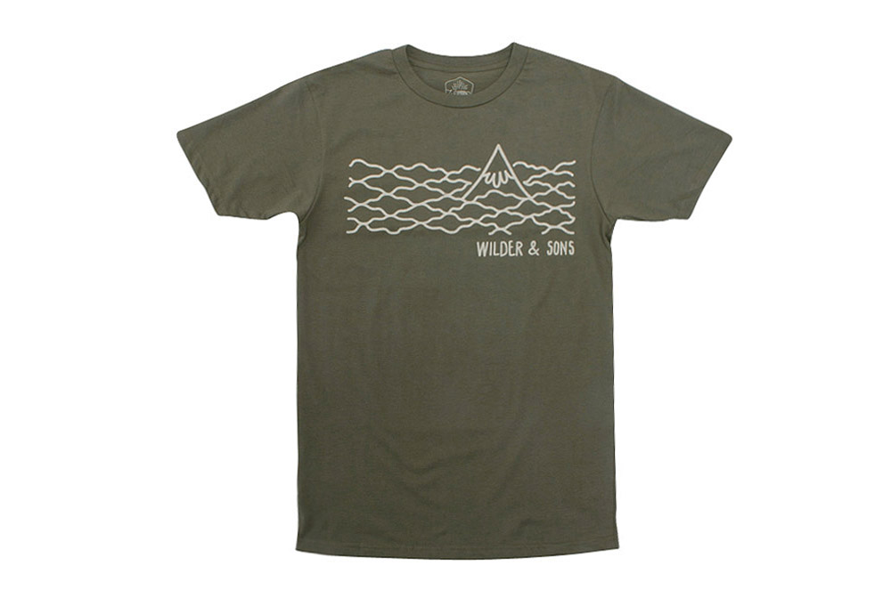 Wilder & Sons Hood in the Clouds T-Shirt - Men's - military green, x-large